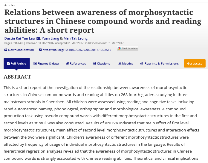 Relations between awareness of morphosyntactic structures in Chinese compound words and reading abilities: A short report